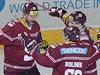Hráči Sparty zleva Karel Pilař, Tomáš Rolinek a Martin Réway se radují z...