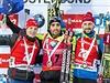 Stupně vítězů. Zleva: Ondřej Moravec, Martin Fourcade, Jakob Fak.