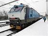 Zamrzlý vlak ve stanici v Drahotuších.