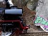 Graffiti na skále v pražských Hlubočepech vedle železniční trati.