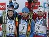 Stupn� v�t�z�. Zleva: Dominik Landertinger, Anton �ipulin, Emil Hegle Svendsen.