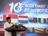 Indoneský vicepresident Jusuf Kalla během děkovné řeči světu za humanitární...