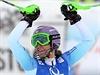 Česká lyžařka Šárka Strachová se raduje po senzačním druhém místu.
