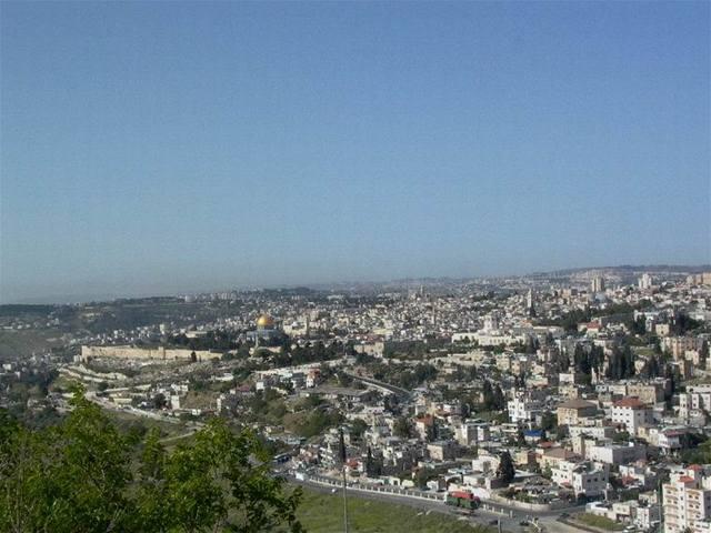 Výhled z hory Scopus k jihozápadu