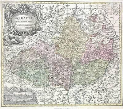 3. O tom, že Moravské markrabství je staletí stále stejné ukazuje Sutterova mapa Moravy