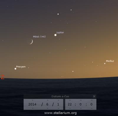 Měsíc, Jupiter a Merkur na večerní obloze 1. června 2014